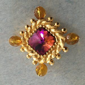 ST JOHN GOLD PINK PIN BROOCH
